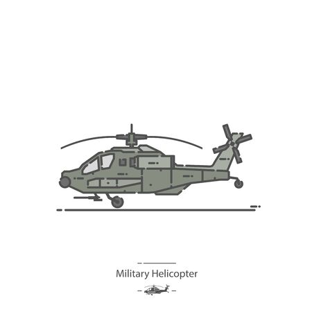 Military Helicopter - Line color icon 免版税图像 - 135025332