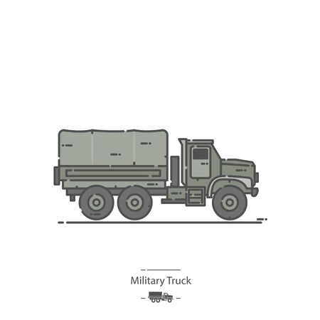 Military Truck - Line color icon