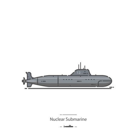 Nuclear Submarine - Line color icon 免版税图像 - 135048287