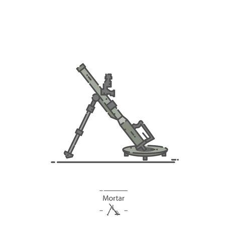 Military Mortar - Line color icon 矢量图像