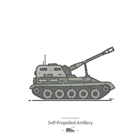 Self-Propelled Artillery - Line color icon Ilustracja