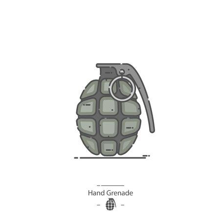 Hand Grenade - Line color icon Stock Illustratie
