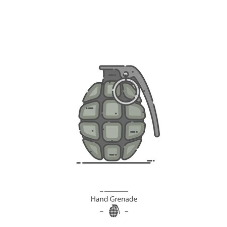 Hand Grenade - Line color icon Illustration