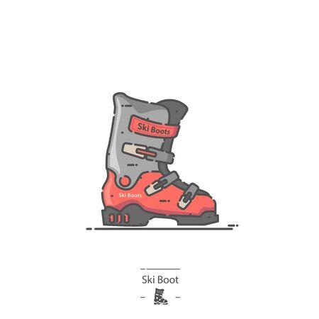 Ski Boot - Line color icon 免版税图像 - 135127663
