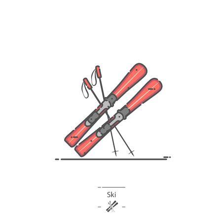 Ski - Line color icon 免版税图像 - 135138014