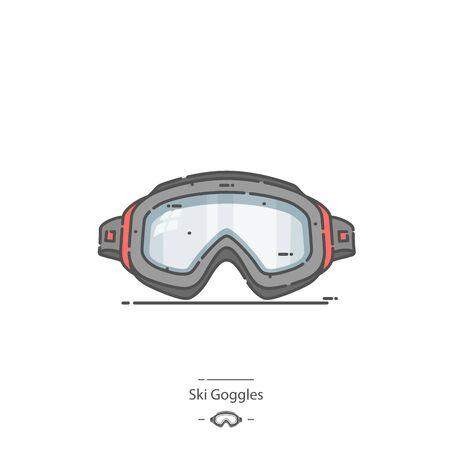 Ski Goggles - Line color icon 矢量图像