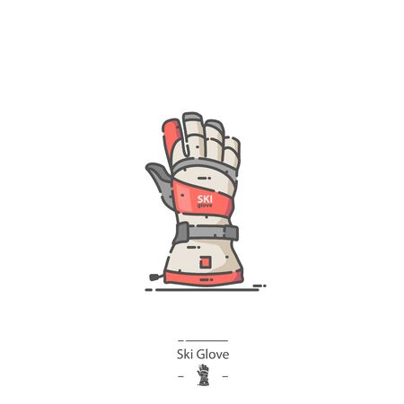 Ski Glove - Line color icon Ilustracja