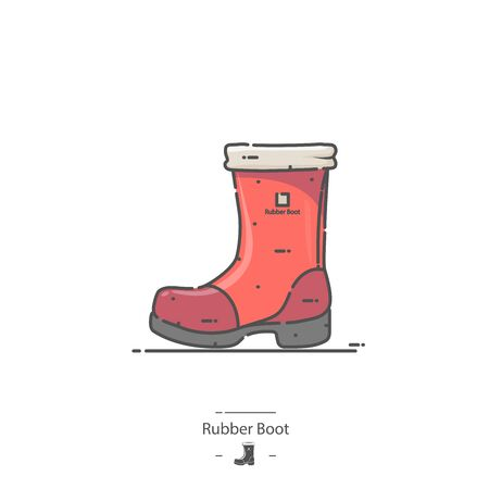 Red Rubber Boot - Line color icon