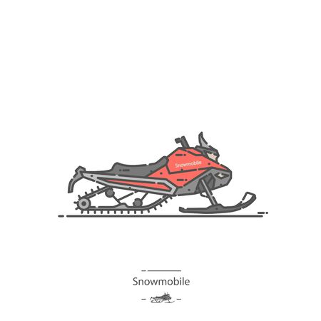 Motoneige - Icône de couleur de ligne