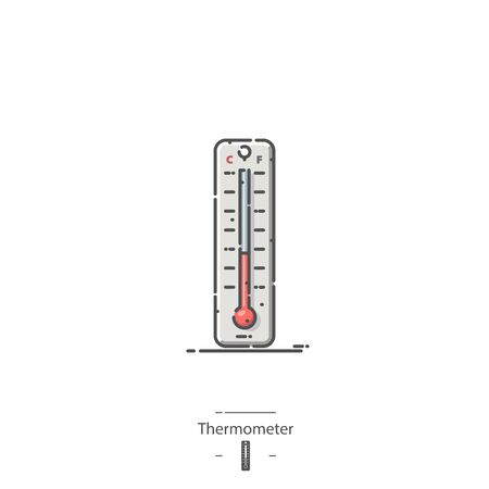 Thermometer - Line color icon 免版税图像 - 135412797