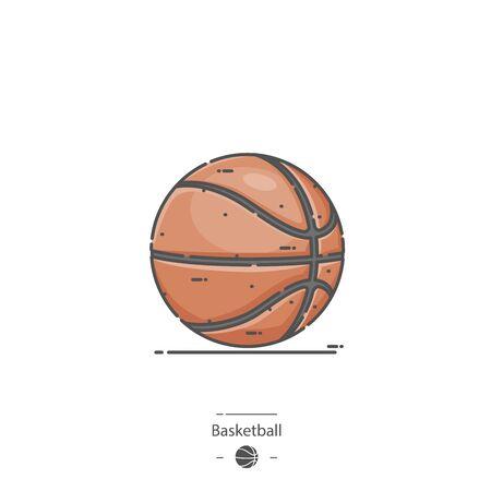 Basketball - Line color icon 일러스트