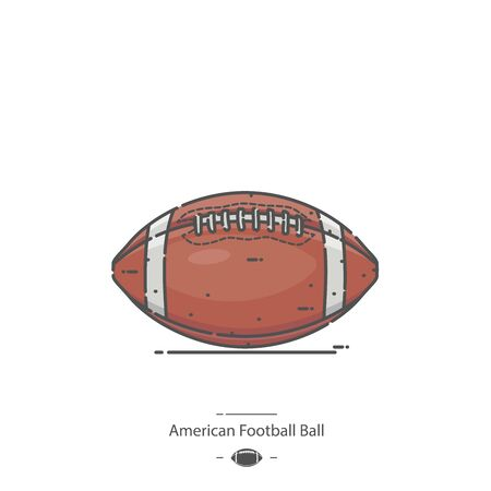 American Football Ball - Line color icon 矢量图像
