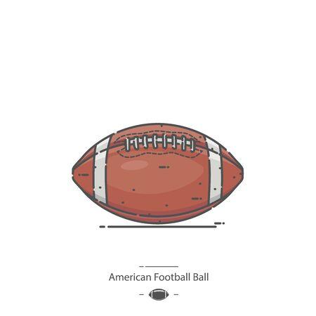 American Football Ball - Line color icon Illustration