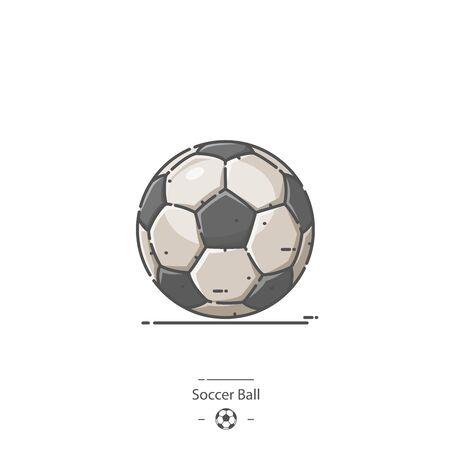 Soccer Ball - Line color icon 일러스트