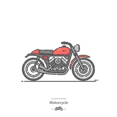 Motorcycle - Line color icon Ilustracja