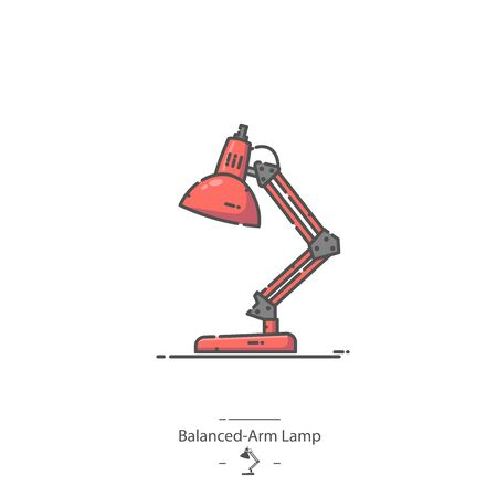 Red Balanced Arm Lamp - Line color icon