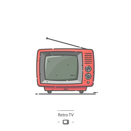 Red Retro TV - Line color icon