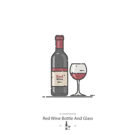 Red Wine Bottle And Glass - Line color icon