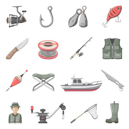 Fishing Equipment Icons Illustration