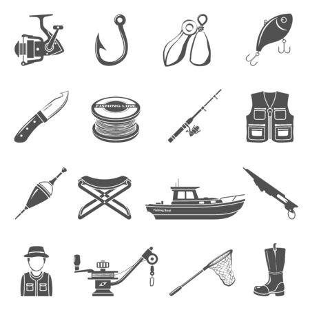 Black Icons - Fishing Equipment