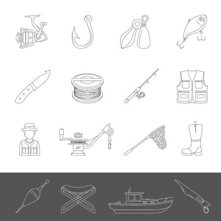 Line Icons - Fishing Equipment 免版税图像 - 139628172