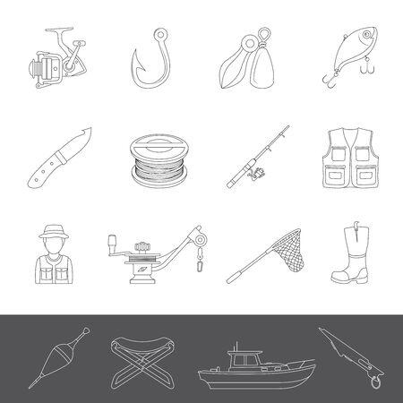 Line Icons - Fishing Equipment