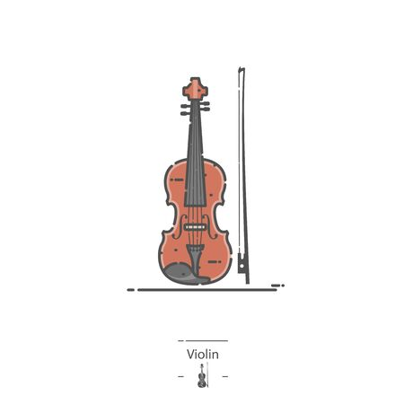 Violin with bow - Line color icon Illustration