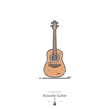 Acoustic Guitar - Line color icon 일러스트