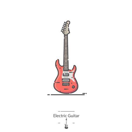 Electric Guitar - Line color icon 矢量图像