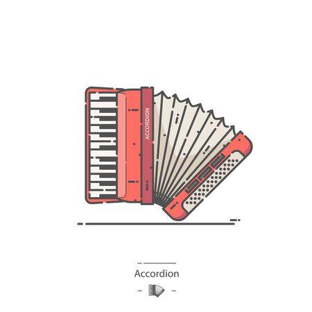 Red Accordion - Line color icon