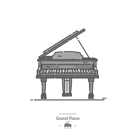 Grand Piano - Line color icon 矢量图像