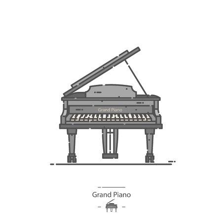 Grand Piano - Line color icon Illustration