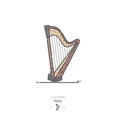 Pedal Harp - Line color icon Illustration