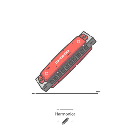 Red Harmonica - Line color icon