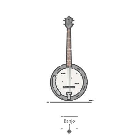Banjo - Line color icon Illustration