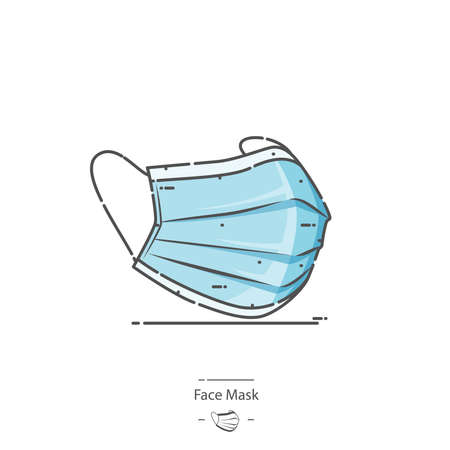 Medical protective mask - Line color icon