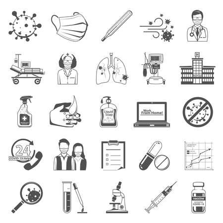 Black Icons - Coronavirus Illustration