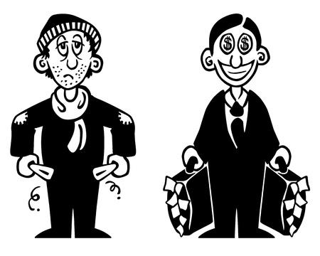 homelessness: illustrazione in bianco e nero di un povero e un ricco Vettoriali