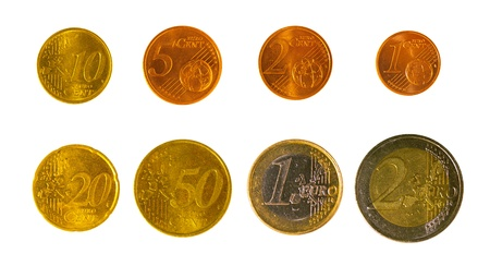 full set of euro coins in high resolution