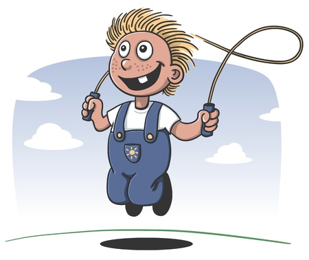 happy boy playing jump rope Vector