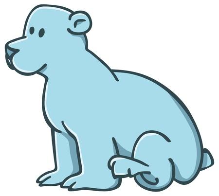 northpole: schattige kleine ijsbeer zittend op de vloer Stock Illustratie