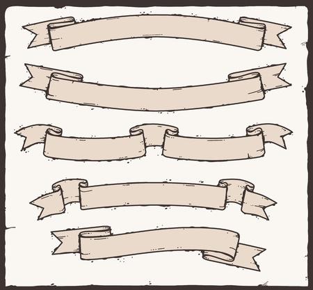 collecction di banner xilografia Vettoriali