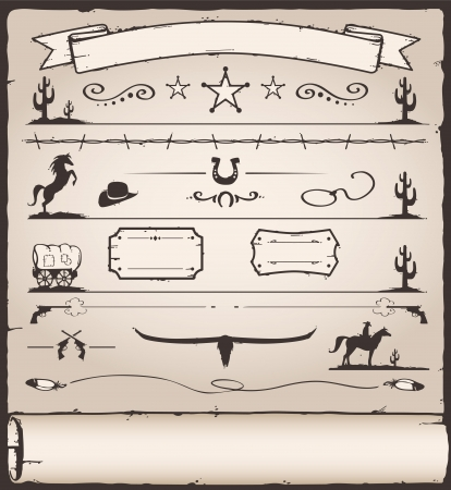 Collection of Wild West Design Elements Vector