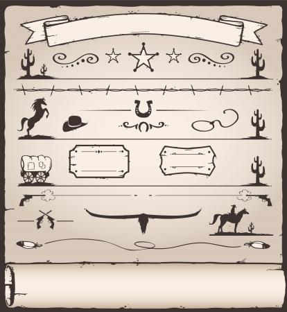 Raccolta di elementi di design selvaggio Ovest