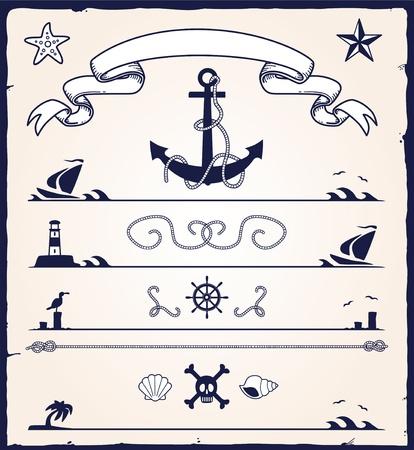 elementos náuticos del diseño Ilustración de vector