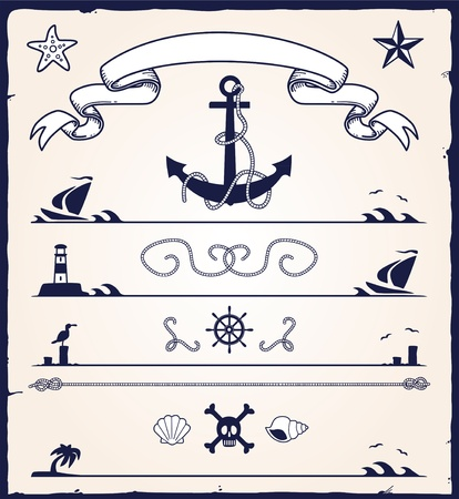 Lighthouse: nautical design elements Illustration