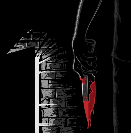 murderer with bloody knife - noir style Vector