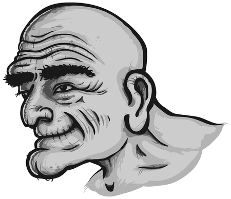 old drawing: happy old man portrait