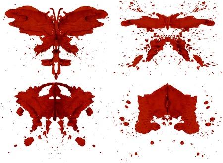 Collezione di macchie d'inchiostro rosso ispirate Test di Rorschach