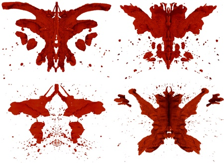 Collection red Inkblots inspired by Rorschach Test Stock Photo